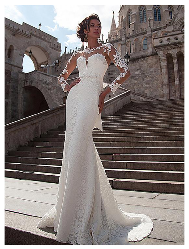 Mermaid Wedding Dress 2019 Long Sleeves Lace Appliques Bridal Dress Buttons Back Beach Wedding Gowns