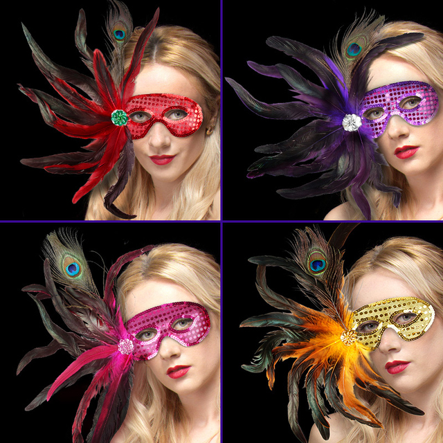 1pcs Large Feather Mask Masquerade Dress Up Party Halloween