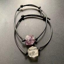 Natural Amethyst Chip Beads Clear Quartz Crystal Polyhedron Wax Rope bracelet Adjustable Reiki Healing Stones Craft