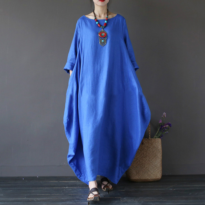 2018 new style summer dress Women Boho Beach o Neck long sleeve Loose Casual Solid Color Baggy Long Maxi Dress vestidos