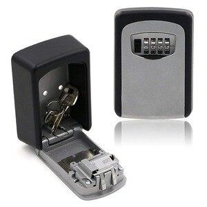 Image 2 - Key Lock Box  4 Digit Combination Wall Mounted Aluminum alloy Key Safe Box Weatherproof Key Storage Lock Box Indoor Outdoor