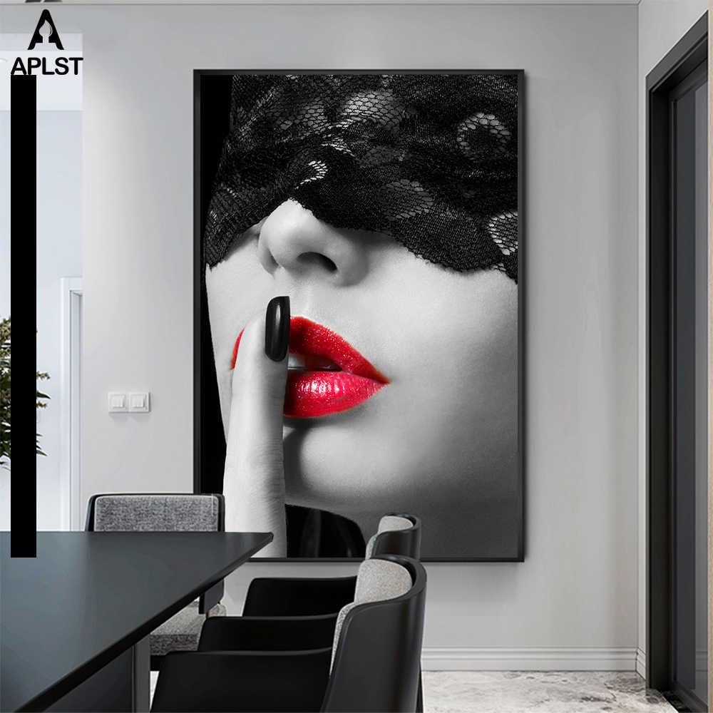 섹시한 빨간 립 레이스 마스크 벌거 벗은 여자 캔버스 회화 인쇄 흑백 누드 여자 포스터 벽 아트 침실 장식 인쇄