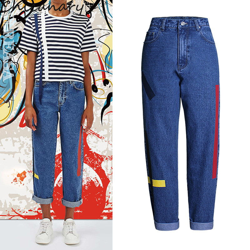 Chicanary Side Painting Women Harness Jeans High Rise Cotton Loose Denim Pants Plus Size