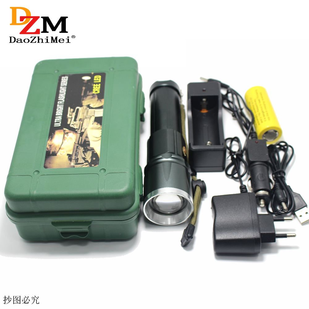 CREE XML T6 3800 lumens LED Zoom torch Torches Zoomable Flashlight lanterna led torch With 26650 Battery /Car Charger/USB фонарик brand new 2015 t6 2000lm lanterna 26650 batteyr efl0509