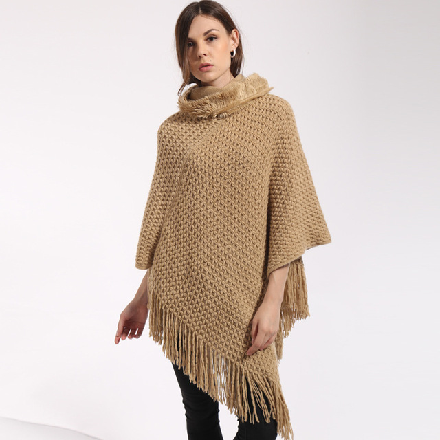 39fe729272fcb Big scarves winter scarf Sweater poncho women Bohemian Shawl Scarf High  collar blankets Cape shawl Ponchos and Capes Q6-26E