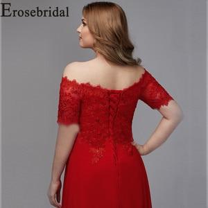 Image 5 - Elegant Formal Dresses Evening Gown Plus Size Long Evening Dress 2019 Red Elegant Party Gown Short Sleeve Robe Soiree
