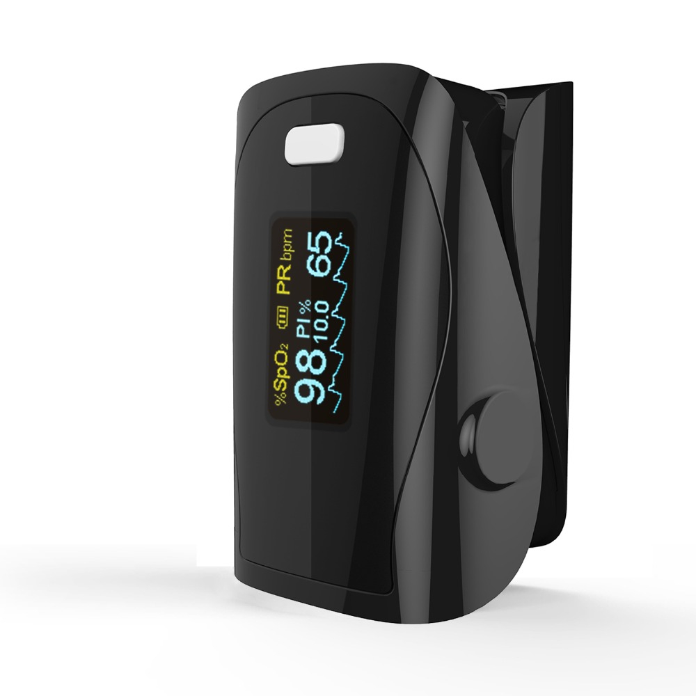 Household Health Monitors Finger Pulse Oximeter ABS Silicone Sensor Equipment Pulsioximetro OLED SPO2 Heart Rate Monitor-black