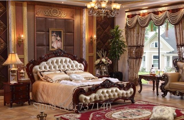 Slaapkamer meubels Barokke Slaapkamer Set massief hout bed luxe ...