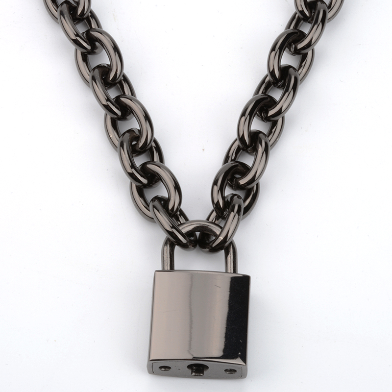 Image 4 - Gun Black Men Women Unisex Chain Necklace Heavy Duty Square Lock Padlock Choker Collar Link Necklace-in Choker Necklaces from Jewelry & Accessories