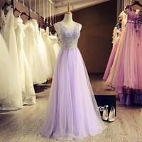 Robe de Soiree Longue 2016 Sexy Sheer Beaded Pink Long Evening Dress Cheap V Neck Evening Gown Abendkleider Vestido de Festa