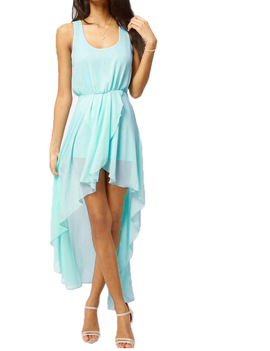 TFGS Sexy Chiffon Dress Women Ladies Summer Dress 2017 Fashion Asymmetrical Hem Sleeveless Tank Light Blue Dress