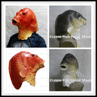 Halloween Party Celebration Cosplay Toys Realistic Cute Latex Fish Mask Full Head Fish Head Mask Golden Fish Face Mask Free size