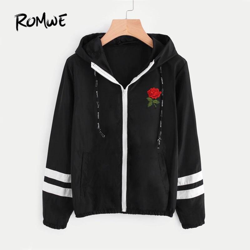 ROMWE Varsity-Striped Zip Up Hooded Women Jacket And Coat 2019 Women Clothes Zipper Jacket Black Embroidery Short Jacket Куртка