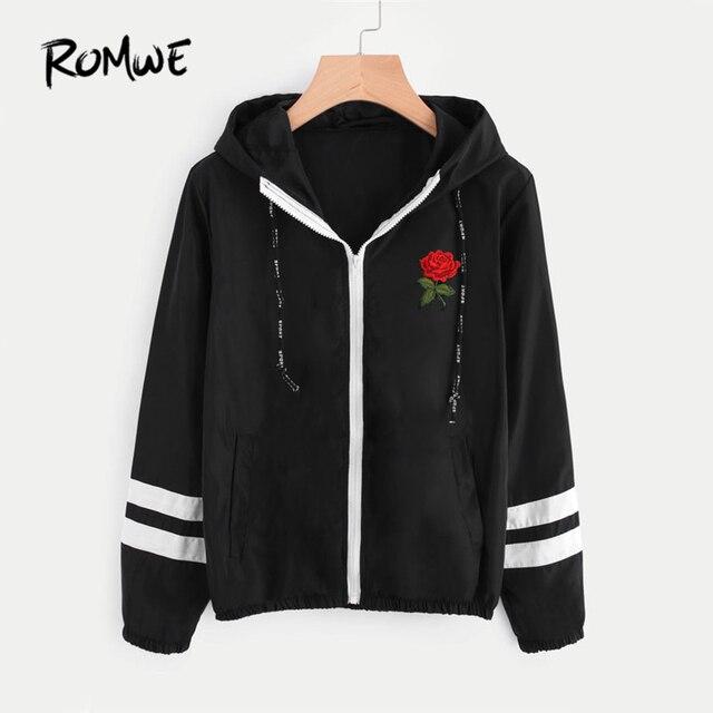 ROMWE Varsity Gestreiften Zip Up Hooded Frauen Jacke Und Mantel 2017 ...