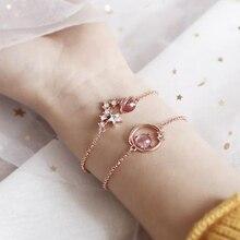 Fantasy Pink Bracelet Chain Stars Round Keys Bangles Glamour Bracelets Jewelry for Women