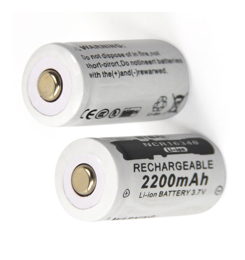 2pcs/lot 3.7v 2200mAh CR123A rechargeable lithium battery 16340 battery