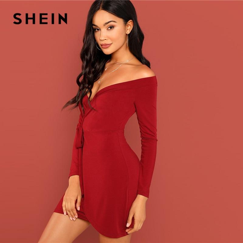 9f352f11da2a0 US $12.0 40% OFF|SHEIN Burgundy Party Sexy Solid Off The Shoulder Deep V  Neck Surplice Wrap Bardot Dress Autumn Club Elegant Women Dresses-in  Dresses ...