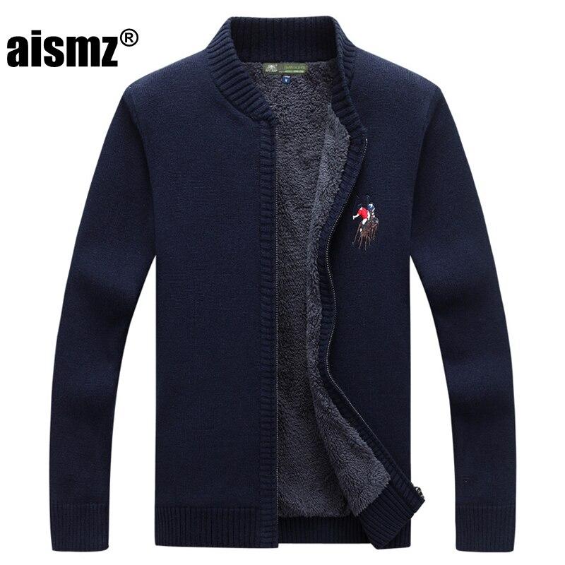 Aismz Sweater Men Clothes Casual 2018 Autumn Winter New Cardigan Men s Plus Velvet Stand Collar
