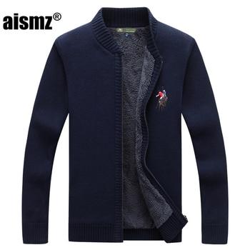 Aismz Sweater Men Clothes Casual 2018 Autumn Winter New Cardigan Men's Plus Velvet Stand Collar sueter hombre Sweater Coat