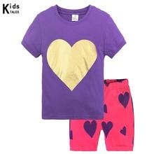 Купить с кэшбэком New Arrival summer Baby Sleep wears short sleeve girls Love heart Pajamas Children Pyjamas boys Cartoon Kids Clothing set