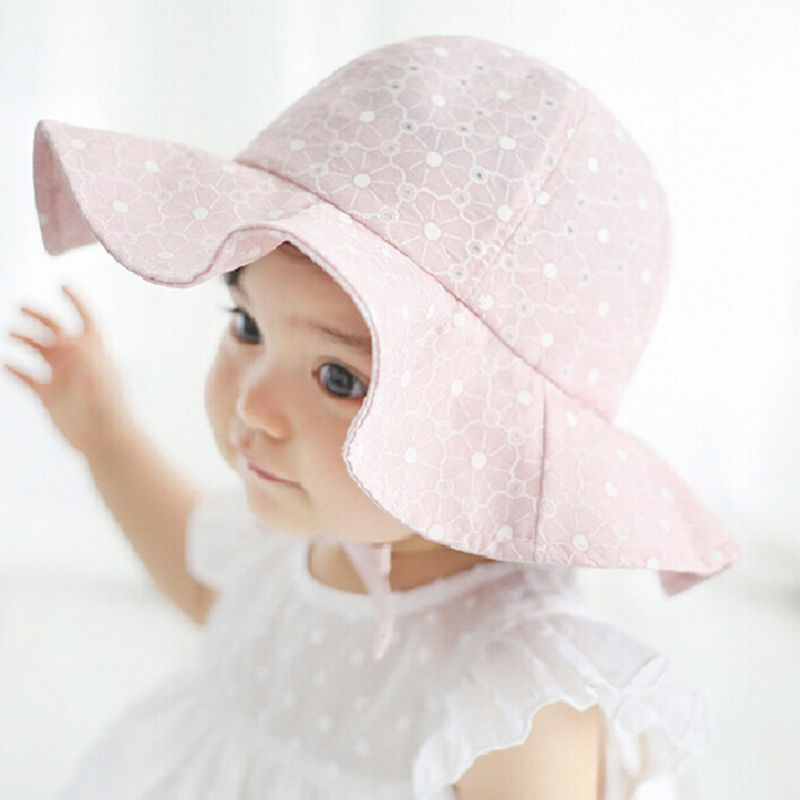 Toddler Children Baby Girls Sun Hats Spring Summer Caps Polka Dots Beach Hat Baby Kids Princess Bucket Hat New Drop Shipping 2017 fashion summer girls kids children cap princess rose flower decor straw beach sun wide brim hat
