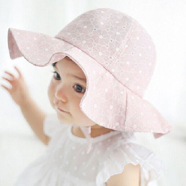 3a16b4c817ca Toddler Children Baby Girls Sun Hats Spring Summer Caps Polka Dots ...
