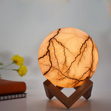 Creative Night lights Cracks Design 3D Moon Lamp 3colors/7Colors Change Touch/Remote Control Rechargeable Luminaria Home Decor novelty night light moon lamp 3d rechargeable touch control lights 16 colors change with remote night lamps for child home decor