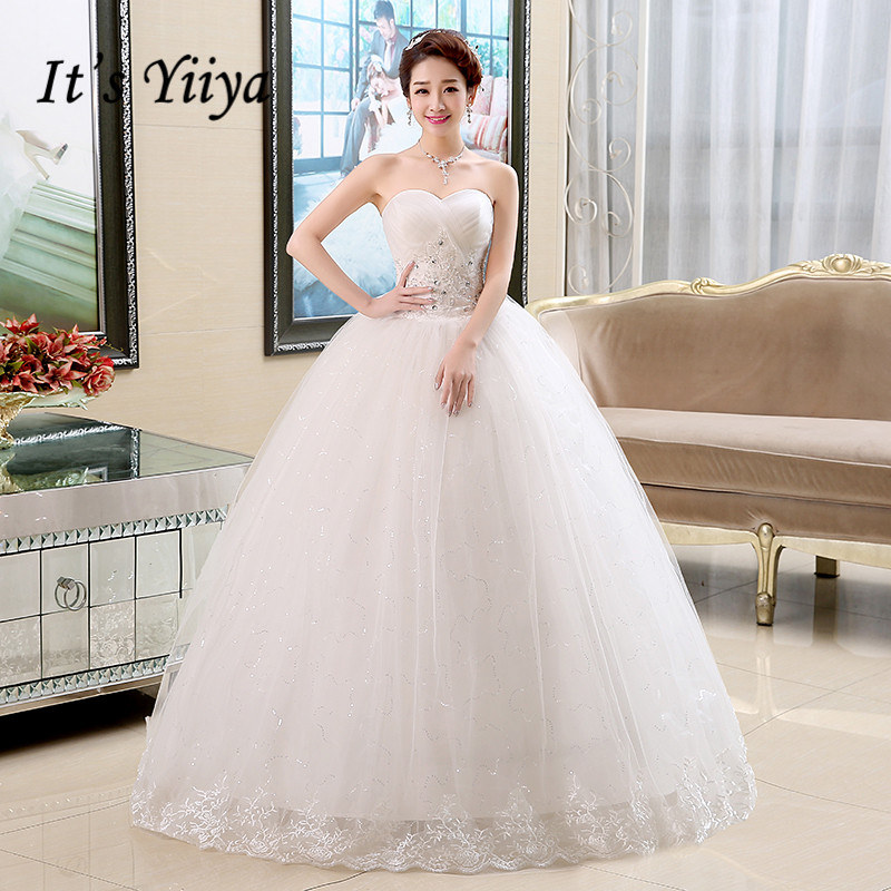 It's YiiYa Wedding Dress Bridal Embroidery Lace Princess Ball Gowns White Strapless Sleeveless Lace Up Wedding Dresses HS131