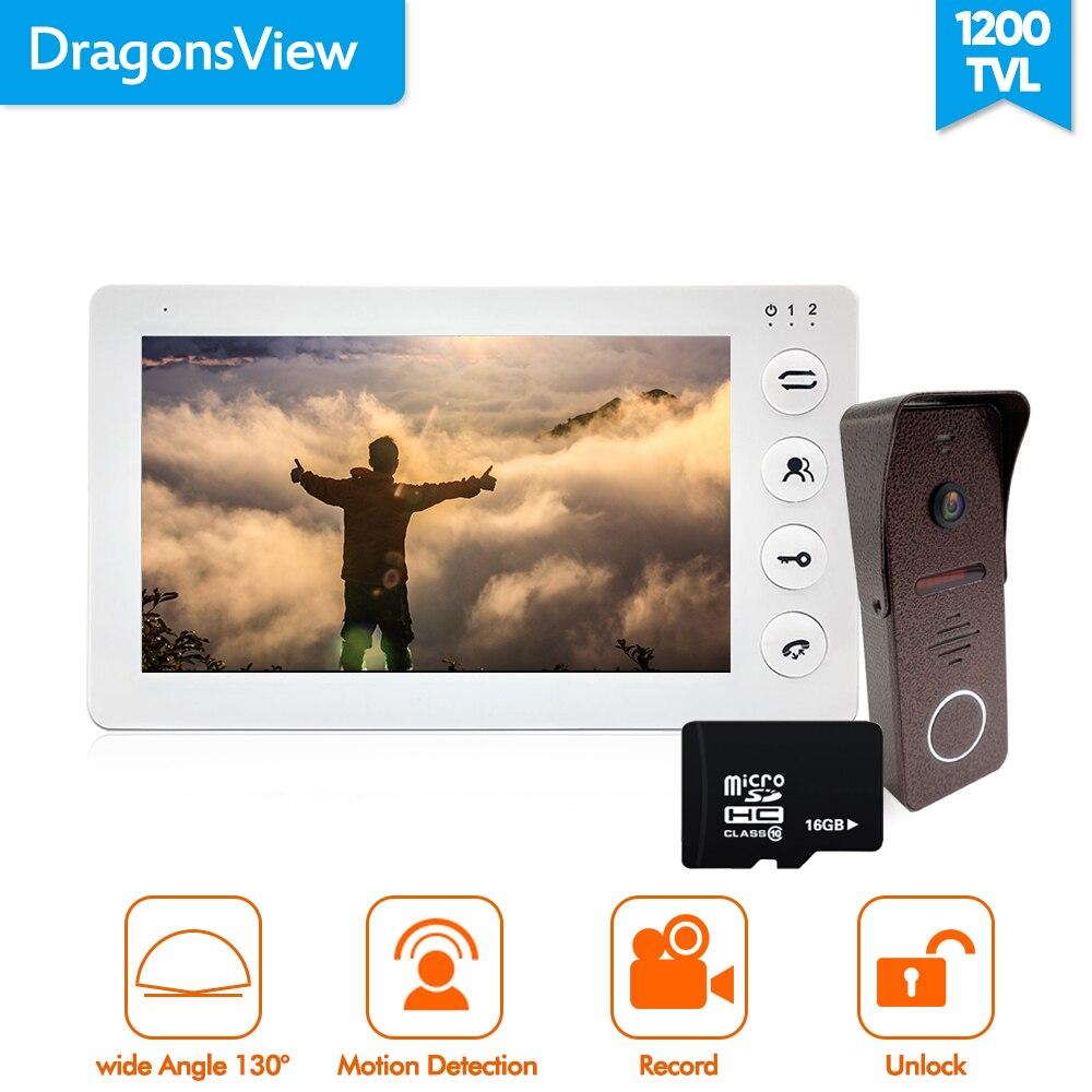 Dragonsview 7 pulgadas Video puerta teléfono intercomunicador sistema registro detección de movimiento gran angular timbre con cámara cubierta impermeable - 2