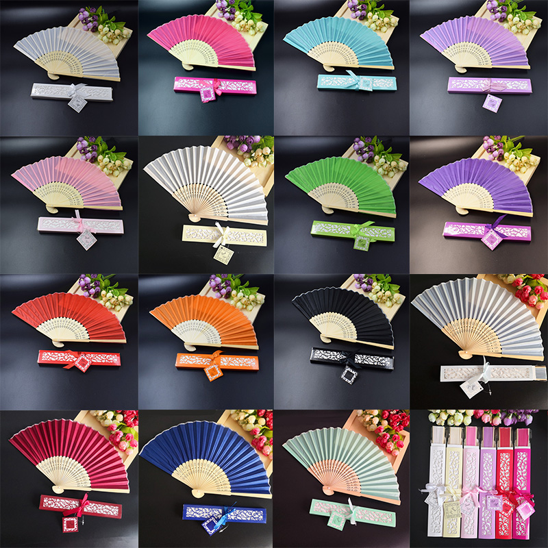 120pcs Personalized Wedding Silk hand Fan in Elegant Laser Cut Gift Box Party Favors Fan Wedding