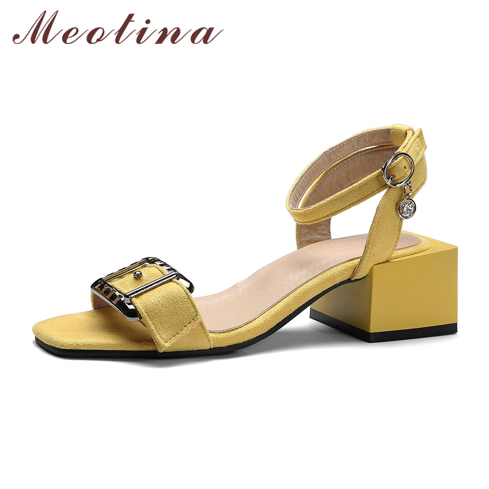 Meotina Women Shoes High Heels Sandals Summer Ankle Strap Chunky Heel Sandals Buckle Ladies Shoes Yellow Green Big Size 11 12 46