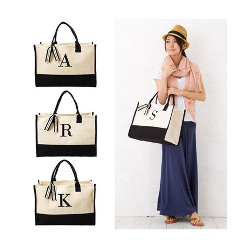 Wholesale Embroidery Initials 20 Oz Canvas Tote Bag Initials Handbag