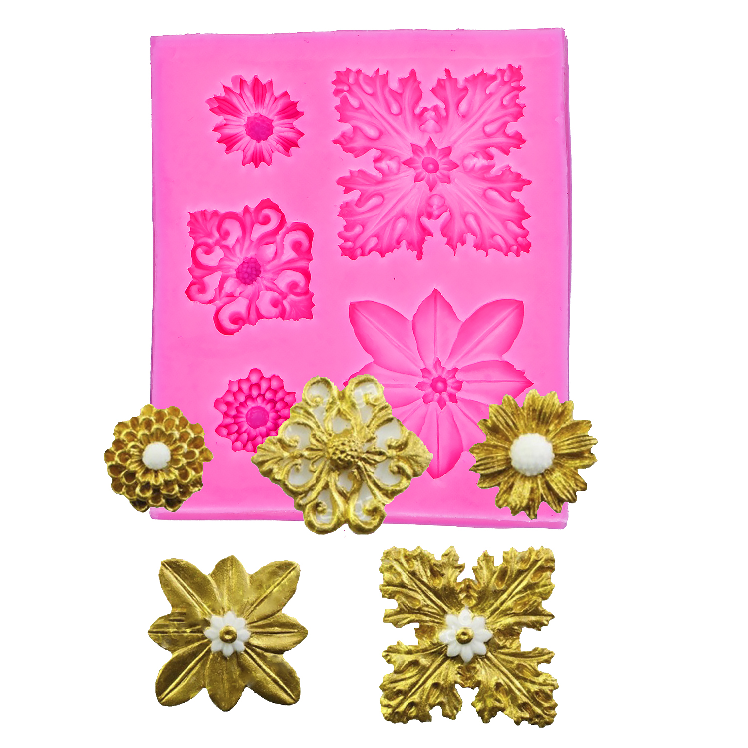 Flower shaped 3D Reverse sugar molding fondant cake silicone mold for fimo polymer clay molds decoration tools F11165
