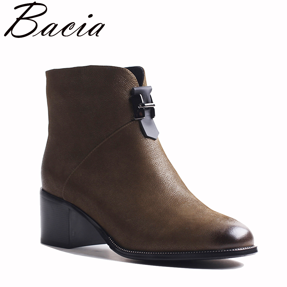 Bacia New Spring Genuine Leather Boots Short Plush Women Shoes Ankle Boots With Zipper Handmade High Quality Shoes Boots VXB042 new high end leather shoes and women s short boots leather boots