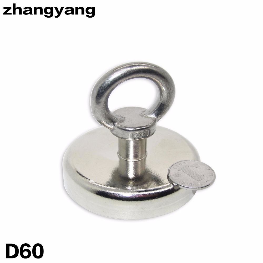 ZHANGYANG 1pcs/lot 110kg Pulling Mounting D60mm strong powerful neodymium Magnetic Pot with ring fishing gear, deap sea salvage 1piece 164kg magnetic pull force neodymium recovery fishing detecting magnet pot with a eyebolt antenna magnetic mounting base