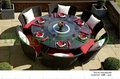 Wicker patio dining furniture set for home or outdoor decorations
