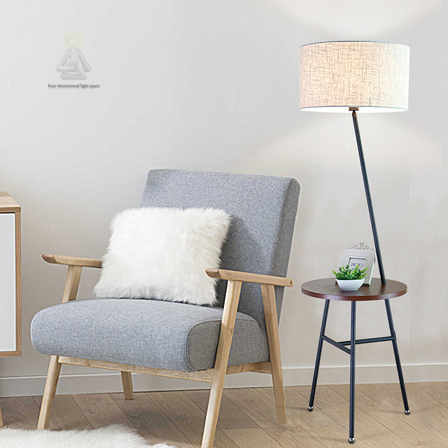 floor lamp living room what is the best made furniture modern shelves wood iron industrial tripod standing light for home deco reading luminaria de mesa cloth