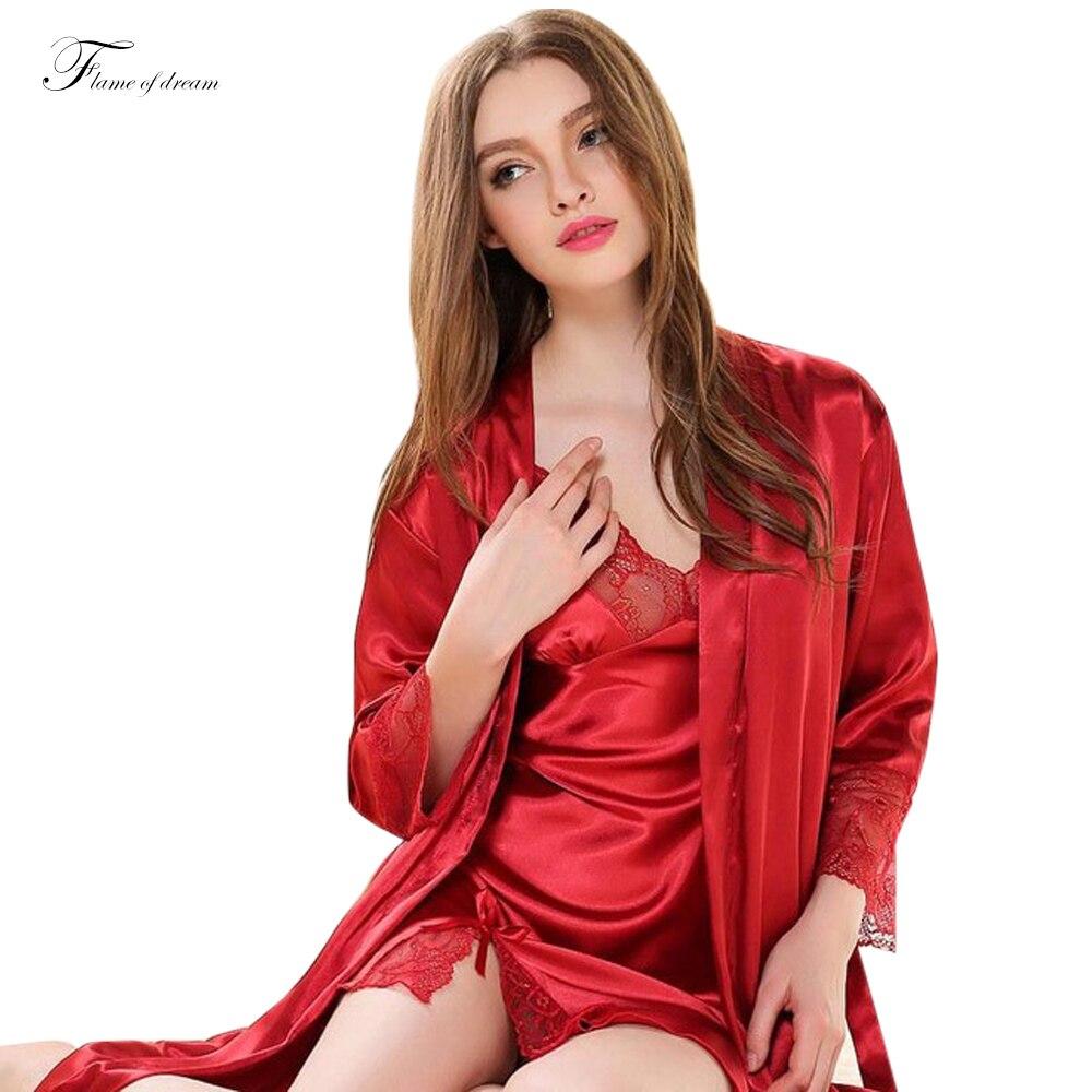 48f32a0ec6 Satin nightgown Silk Two Piece Nightgown Sleeping wear Sexy Long Sleeved Silk  Robe nightwear robe sets faux silk sleepwear652-in Robe   Gown Sets from ...