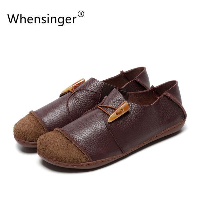 Whensinger-2017 Женская Обувь Весна Квартиры Женский Обувь Из Натуральной Кожи Старинные Элегантной Моды D1505 (0309)