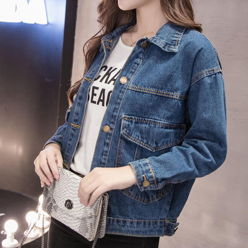 Denim   Jacket   Women Big Size Student Summer   Basical   Button Pocket Coat Blue Wash Dye Plus Size Full Sleeves 2019Spring Fashion