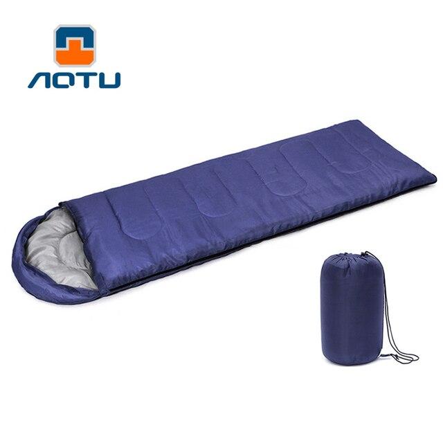 Outdoor Camping Sleeping Bag Warm Envelope Hooded 3 Season Bags Adult Travel Sleep