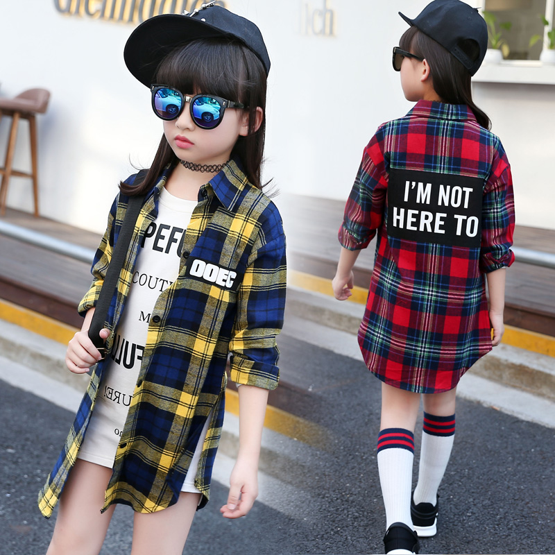 Girl Shirt Cotton Casual Kids Girls Shirts Long Sleeve Children Clothes Brand Girls Plaid Blouses Long Length Teenage Girls Tops