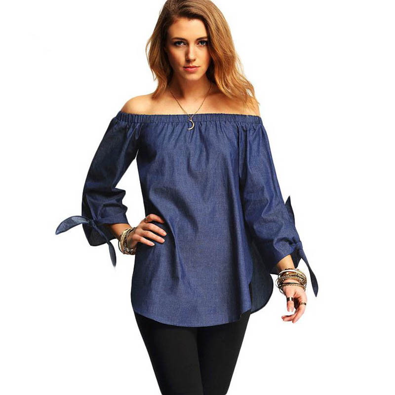 T Shirt 2017 Spring Summer 3/4 Sleeve Bow-knot Big Size Loose Split Casual Tops Shirt Sexy Women Off Shoulder Tees Tops S3352