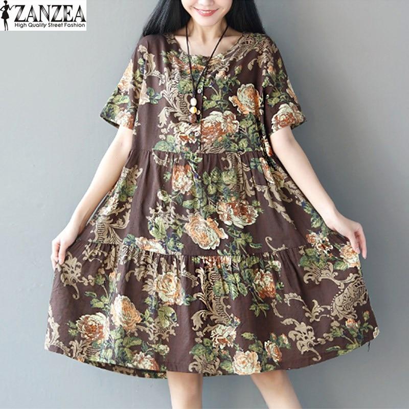 ZANZEA Vintage Womens Summer Short Sleeve O Neck Casual Loose Dress Floral Print Party Beach Midi Shirt Dress Linen Vestido
