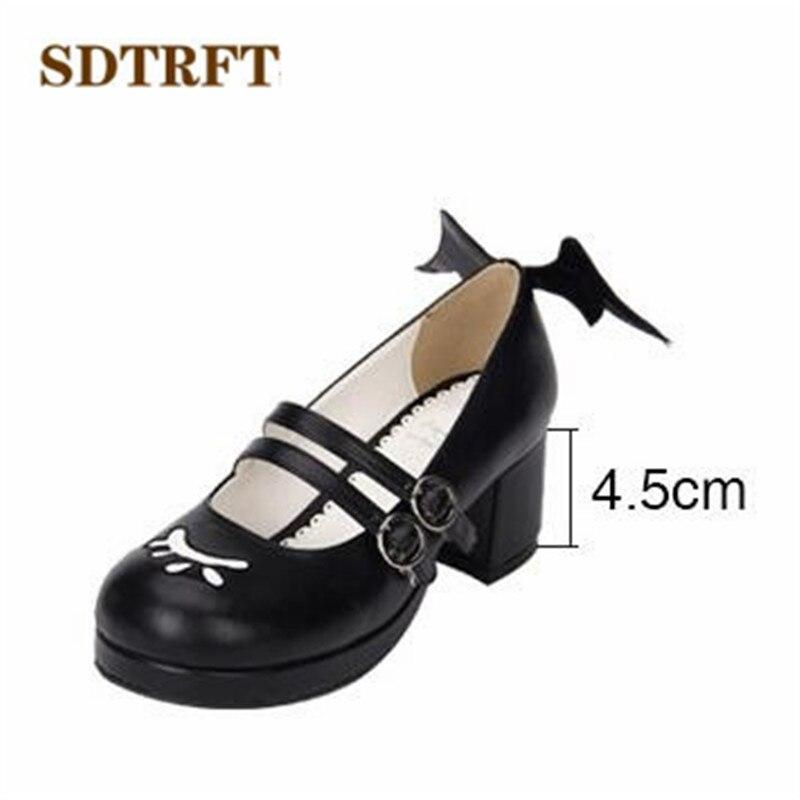 SDTRFT/Большие размеры: 34-44, весенне-осенние милые туфли на высоком толстом каблуке в стиле Лолиты женские туфли-лодочки для костюмированной ве...