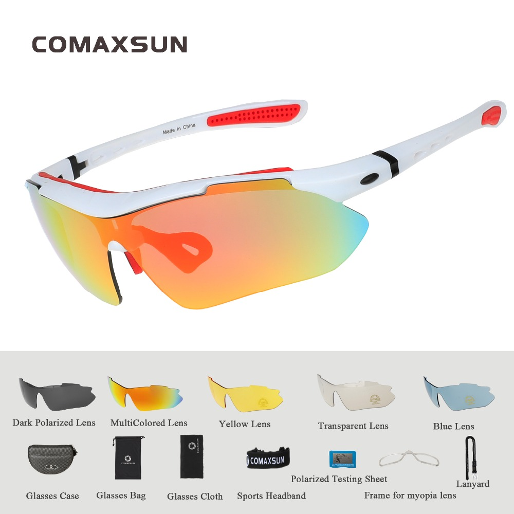 COMAXSUN Professional Polarized Cycling Glasses Bike Goggles Outdoor Sports Bicycle Sunglasses UV 400 With 5 Lens TR90 2 Style 5
