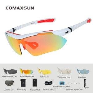 Image 5 - COMAXSUN profesyonel polarize bisiklet gözlük bisiklet gözlük doğa sporları bisiklet güneş gözlüğü UV 400 5 Lens ile TR90 2 tarzı