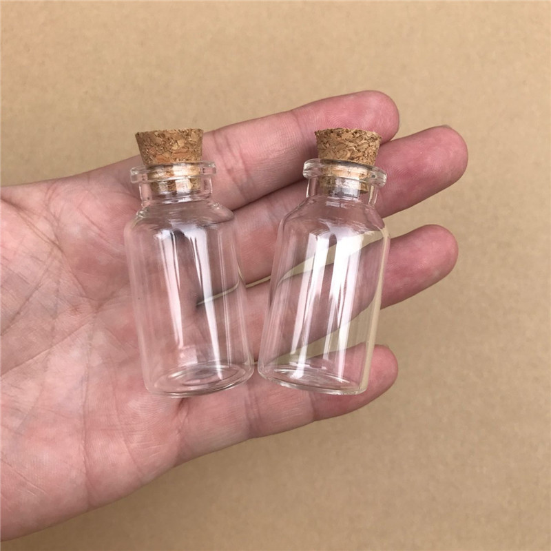 Transparent Glass Bottle Cork Stopper Empty Crafts Decoration Bottles Food Saffron Pill Jars Vials Jars (1)