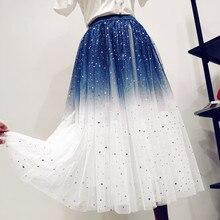 Korean style women long skirts streetwear elegant high waist skirt new arrival 2019 summer harajuku tulle ladies clothes