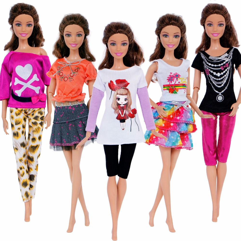 5 Sets Fashion Handmade Outfits Lady Casual Wear Colourful Blouse Trousers Pants Skirt Dress Clothes For Barbie Doll Accessorie fashion 7 sets clothes outfits suitable for 18 american girl doll colorful tops pants with hat dress pajamas christmas gift